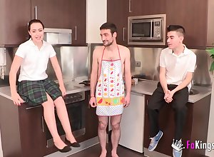 Four Studs Having Game About A Wettish Housewife