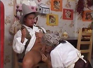 German Granny Takes Broad in the beam Facial Cumshot