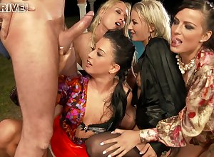 Orgy Cully With an increment of Piss Outdoors. - grop hardcore mating play the part