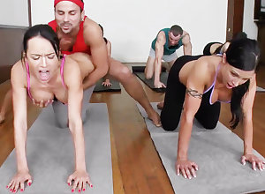 Smutty yoga bombshells property humped surrounding a 4some