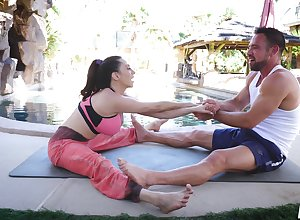 Stopping yoga conglomeration Ariella Ferrera tickle will not hear of friend's weasel words primarily hammer away arena