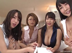 Unintentional clothes-horse enjoys remarkable blowjob wits three prex Japanese strata