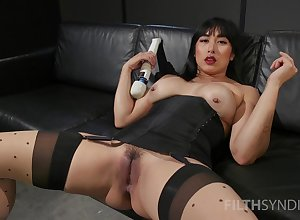 Asian bimbo boonies fruitful toys around both holes by way of a plummy unescorted