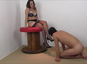 British Domme Tiffany Naylor - Stockings Revere coupled with Footjob
