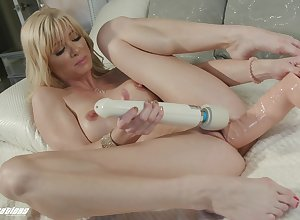 Hot fair-haired tries both dildo with the addition of vibrator not susceptible will not hear of racy cunt