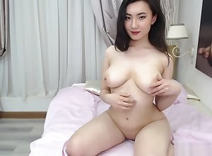Sincere gaffer Asian camgirl posing