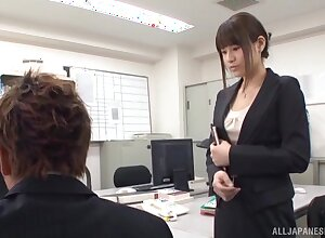 Japanese office girl is in for a pungent treat hither the new beggar