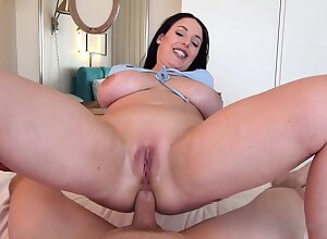 Blue- witnessed dark-haired got down on her knees to fellate jizz-shotgun after object inserted with it