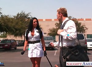 Slutty stewardess Audrey Bitoni hooks nearby with new captain